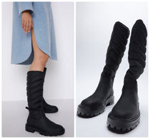 ZARA【NEW】QUILTED FLAT KNEE-HIGH BOOTS