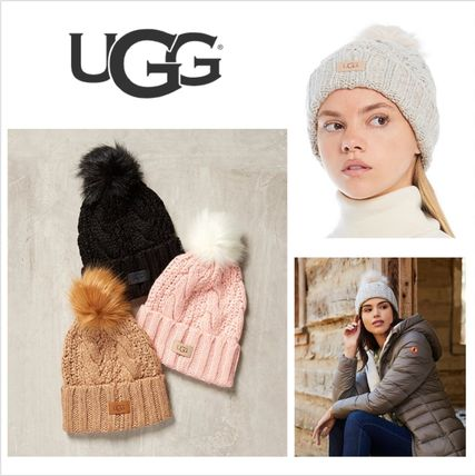 【UGG】Women's Knit Cable Beanie With Faux Fur Pomニット帽☆