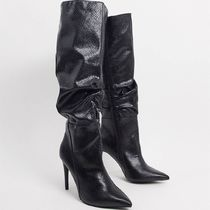 London Rebel pointed knee high boots