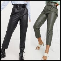 Stradivarius faux leather paperbag trousers