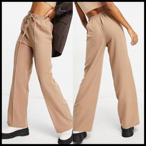 ASOS DESIGN jersey twill wide leg suit jogger in camel
