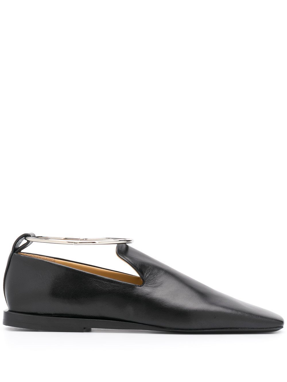 JIL SANDER | ANKLE CUFF SQUARE TOE LOAFERS フラット 黒 (Jil Sander/フラットシューズ) JS35019A 12010 998