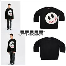 ◆ATTENTIONROW SMILE SHOULDERARM STITCH OVER-FIT WOOL KNIT◆