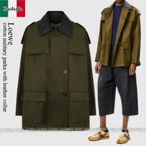 Loewe cotton military parka with leather collar