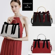 ★ Charles & Keith★Velvet Bow Detail Top Handle Bag★3色