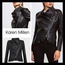 【KAREN MILLEN】レザー Envelope Neck Biker Jacket ブラック