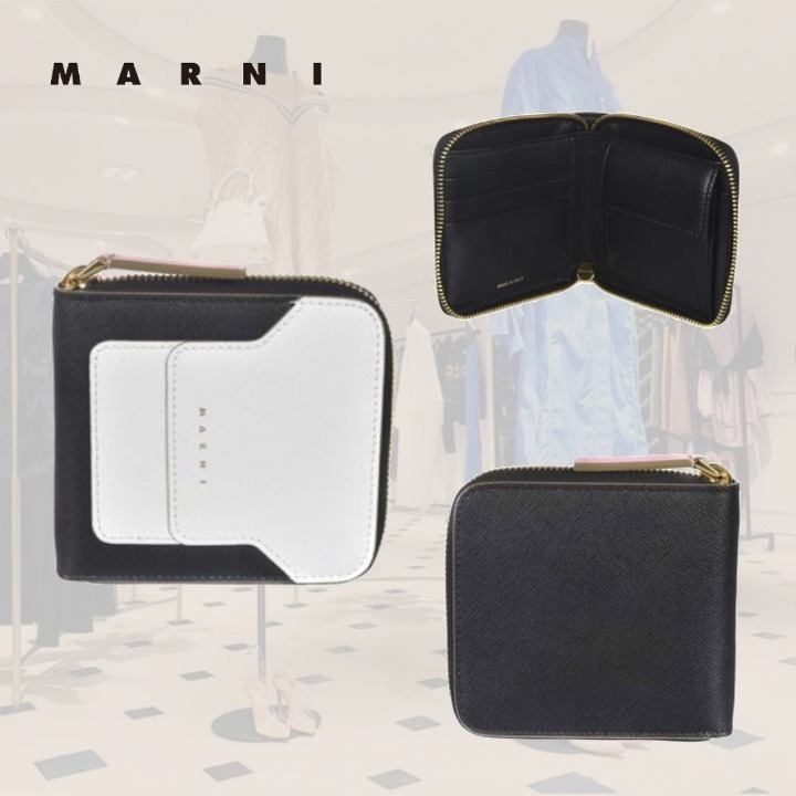 SALE**MARNI**マルニ★LOGO PRINT WALLET IN BLACK AND WHITE (MARNI/財布・小物その他) 62764457