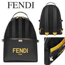 FENDI ESSENTIAL BACKPACK in LEATHER AND NYLON