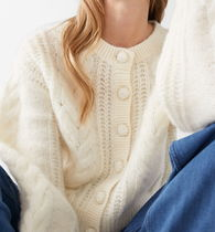 """""""& Other Stories"""" Cropped Button Up Knit Sweater White"""