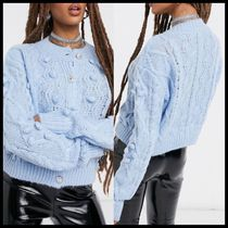NA-KD cable knit cardigan with glitter buttons in light blue
