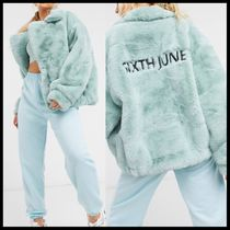 ASOS Sixth June oversized jacket in faux fur with logo