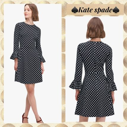 kate spade★domino dot flounce sleeve ponte dress