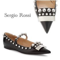 SALE♪Sergio Rossi Pall Leather Point-Toe Flats