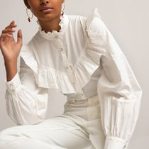 La Redoute Cotton Ruffled Shirt with High-Neck