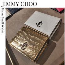 JIMMY CHOO★Hanne Small Wallet クロコ型押し 二つ折り 財布