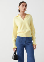 & Other Stories新作☆Ruffled Wool Knit Polo Sweater(yellow)