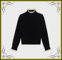【CELINE】FRILLED SWEATER IN WOOL WITH CROCHETED DETAILS