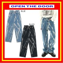 [OPEN THE DOOR]  brush smoke washing jeans (2 color) /追跡付