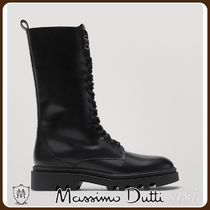 MassimoDutti♪BLACK LACE-UP LEATHER ANKLE BOOTS WITH HIGH LE