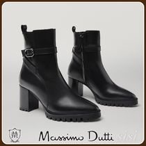 MassimoDutti♪HIGH-HEEL LEATHER ANKLE BOOTS WITH TRACK SOLES