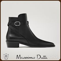 MassimoDutti♪LEATHER ANKLE BOOTS WITH BUCKLE DETAIL