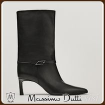 MassimoDutti♪HIGH HEEL LEATHER ANKLE BOOTS WITH BUCKLE DETA
