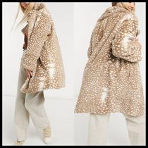 Daisy Street double breasted coat in animal faux fur