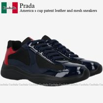 Prada America s cup patent leather and mesh sneakers