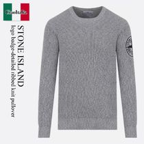 Stone Island logo badge-detailed ribbed knit pullover
