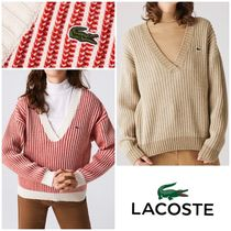 LACOSTE Two-Tone Low V-Neck Ribbed ウール セーター