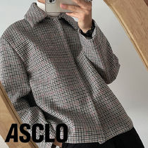 ASCLO Wool Minimal Check Mac Jacket (2color)