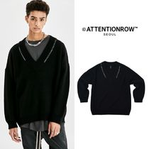 【ATTENTIONROW】Double Stitch Overfit Rams Wool Sweater
