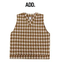 【ADD】HOUNDSTOOTH VEST BROWN