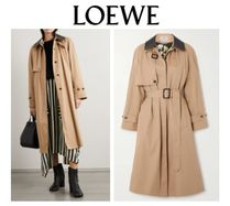 LOEWE☆Leather-trimmed cotton and silk-blend trench coat