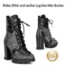 "マイケルコース""Ridley Glitter Leather Lug Sole Hikerブーティ"