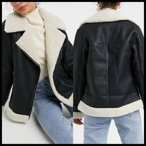 ASOS New Look faux fur lined contrast aviator jacket