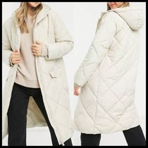 New Look longline quilted puffer coat in cream