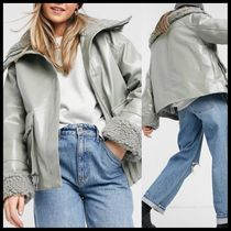 ASOS DESIGN leather look jacket with borg lining in sage