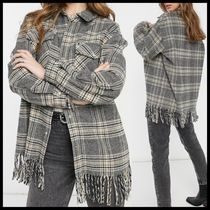 Only check shacket with fringing in grey
