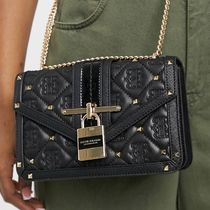River Island quilted monogram padlock front satchel bag