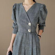 ★THE COCO★韓国人気★Tweed Check Jump Suit GRAY