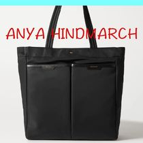 【国内発送】ANYA HINDMARCH Nevis leather-trimmed shell tote