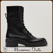 MassimoDutti♪BLACK LACE-UP LEATHER ANKLE BOOTS WITH MOC TOE