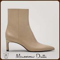 MassimoDutti♪TAN HEELED LEATHER POINTED ANKLE BOOTS