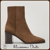 MassimoDutti♪BROWN HEELED SPLIT SUEDE LEATHER ANKLE BOOTS