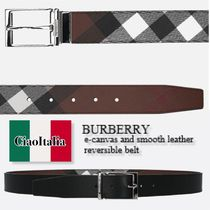 Burberry e-canvas and smooth leather reversible belt