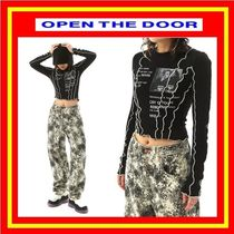 [OPEN THE DOOR]  piping lettering crop T ◆全2色 / 追跡付