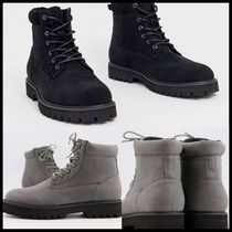 ASOS DESIGN lace up boot in grey faux suede