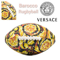 SALE★ロゴ【送込 Versace Home】ラグビーボール★バロック柄