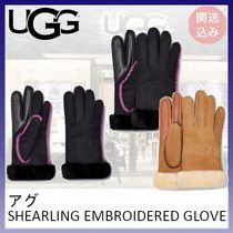 UGG*SHEARLING EMBROIDERED GLOVE*関送込み